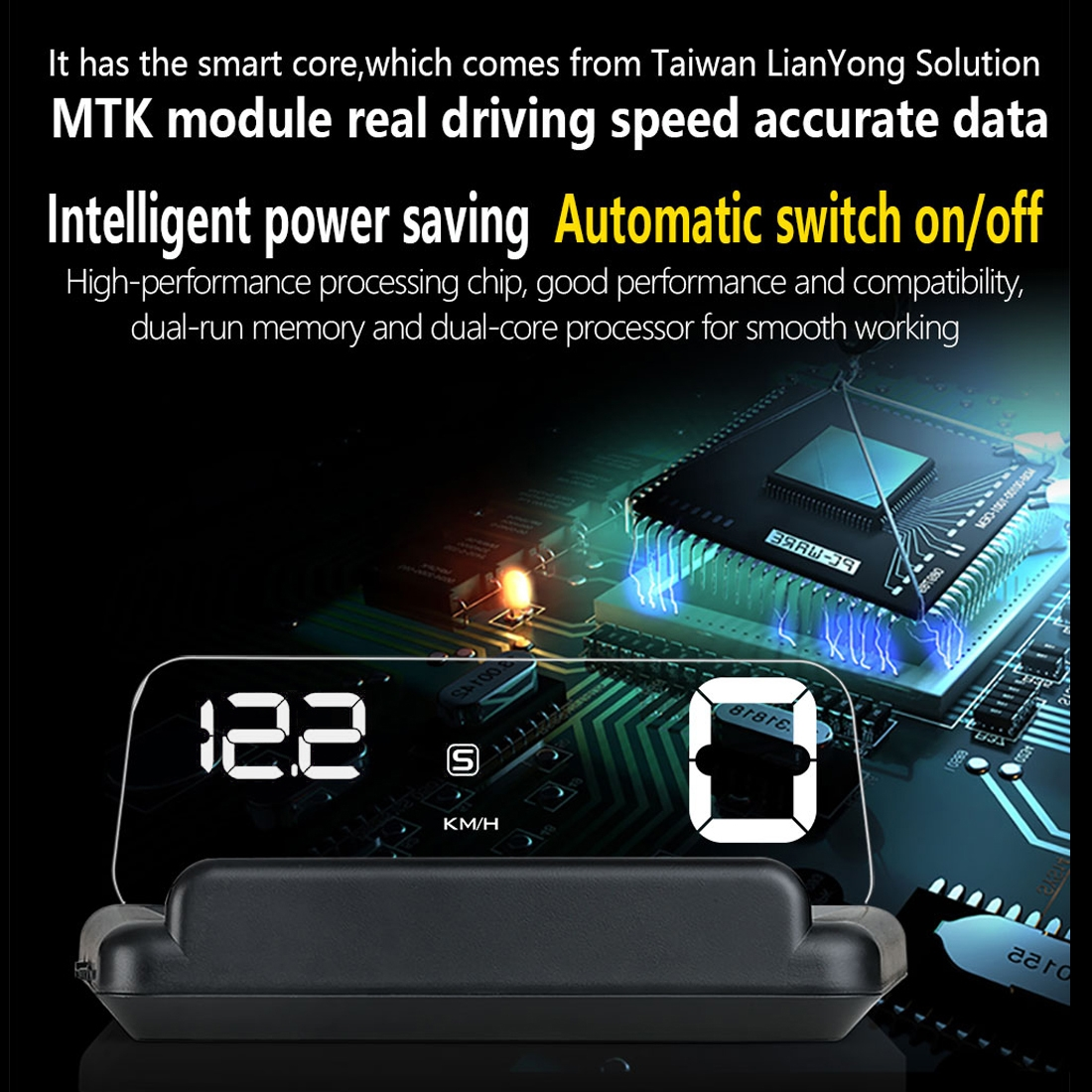 T900 Car GPS HUD Virtual HD Reflection Board Head-up Display, Speed & Driving Distance / Time Display, Over Speed & Voltage & Low Voltage Alarm, Fatigue Driving (White)
