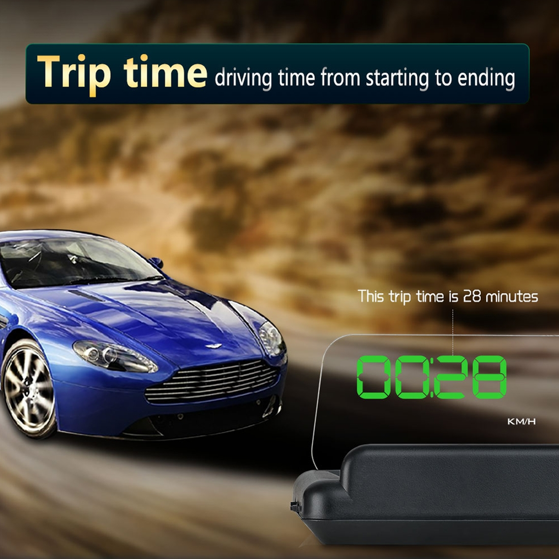 T900 Car GPS HUD Virtual HD Reflection Board Head-up Display, Speed & Driving Distance / Time Display, Over Speed & Voltage & Low Voltage Alarm, Fatigue Driving (Green + White)