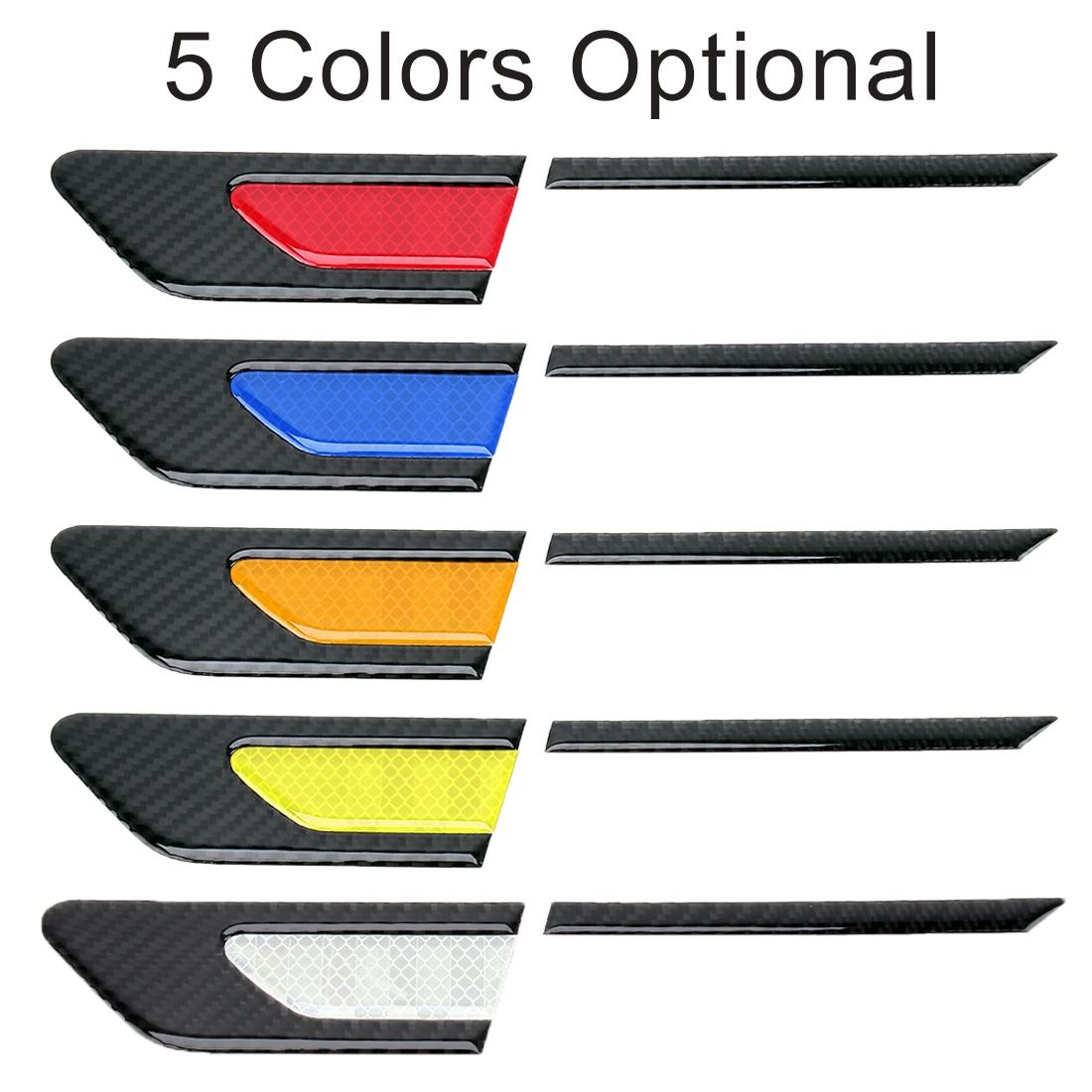 2 PCS Carbon Fiber Car-Styling Fender Reflective Bumper Decorative Strip, Inner Reflection + External Carbon Fiber (Blue)