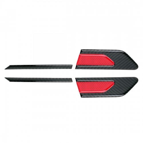 2 PCS Carbon Fiber Car-Styling Fender Reflective Bumper Decorative Strip, Inner Reflection + External Carbon Fiber (Red)
