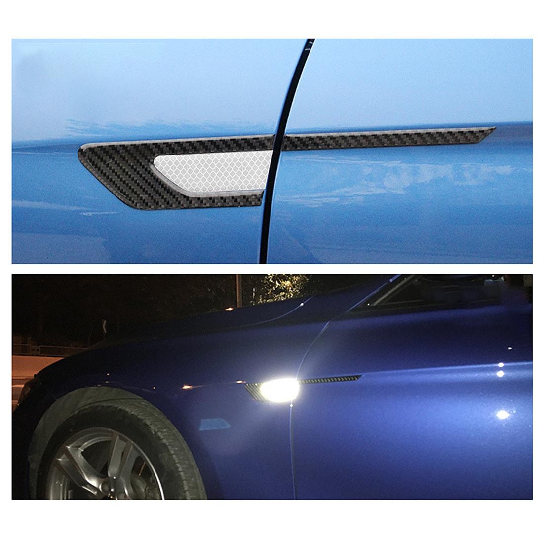 2 PCS Carbon Fiber Car-Styling Fender Reflective Bumper Decorative Strip, Inner Reflection + External Carbon Fiber (White)