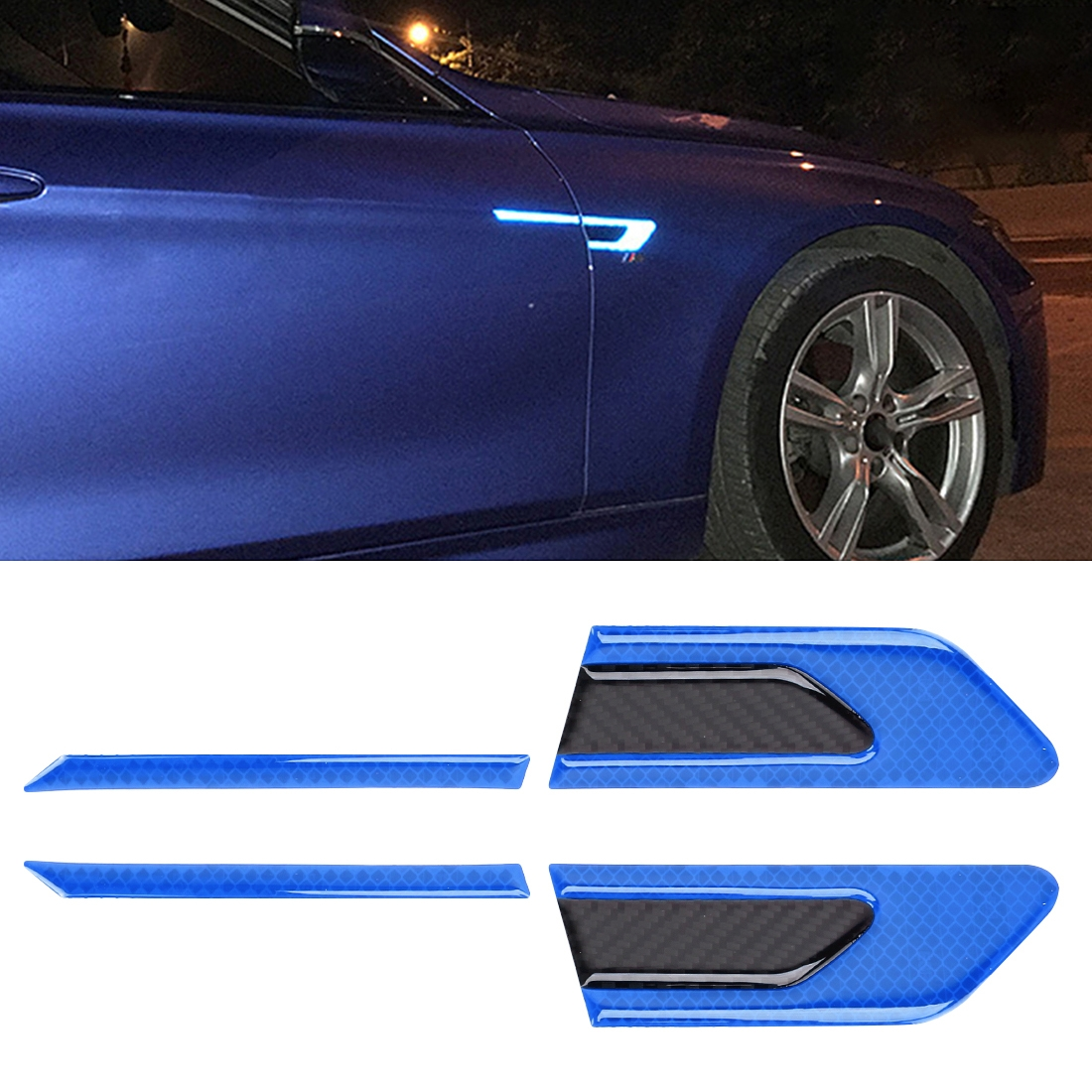 2 PCS Carbon Fiber Car-Styling Fender Reflective Bumper Decorative Strip, External Reflection + Inner Carbon Fiber (Blue)