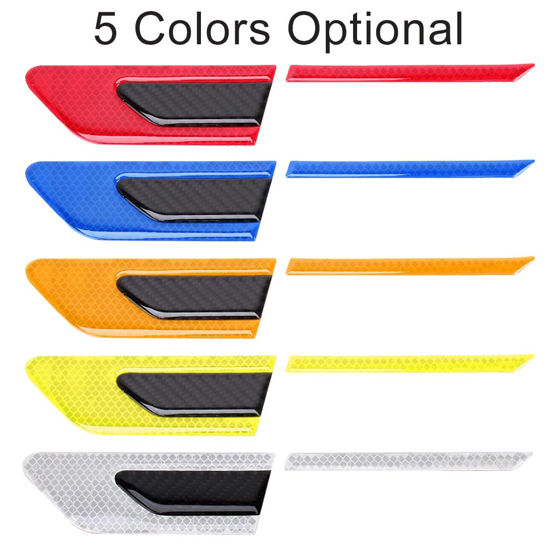 2 PCS Carbon Fiber Car-Styling Fender Reflective Bumper Decorative Strip, External Reflection + Inner Carbon Fiber (White)