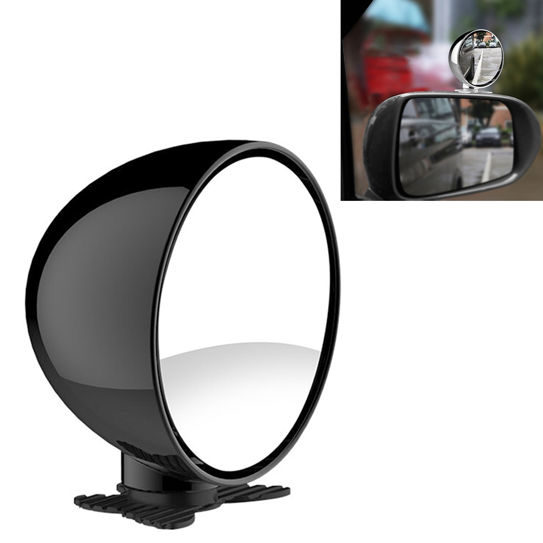 3R-044 Auxiliary Rear View Mirror Car Adjustable Blind Spot Mirror Wide Angle Auxiliary Rear View Side Mirror (Black)