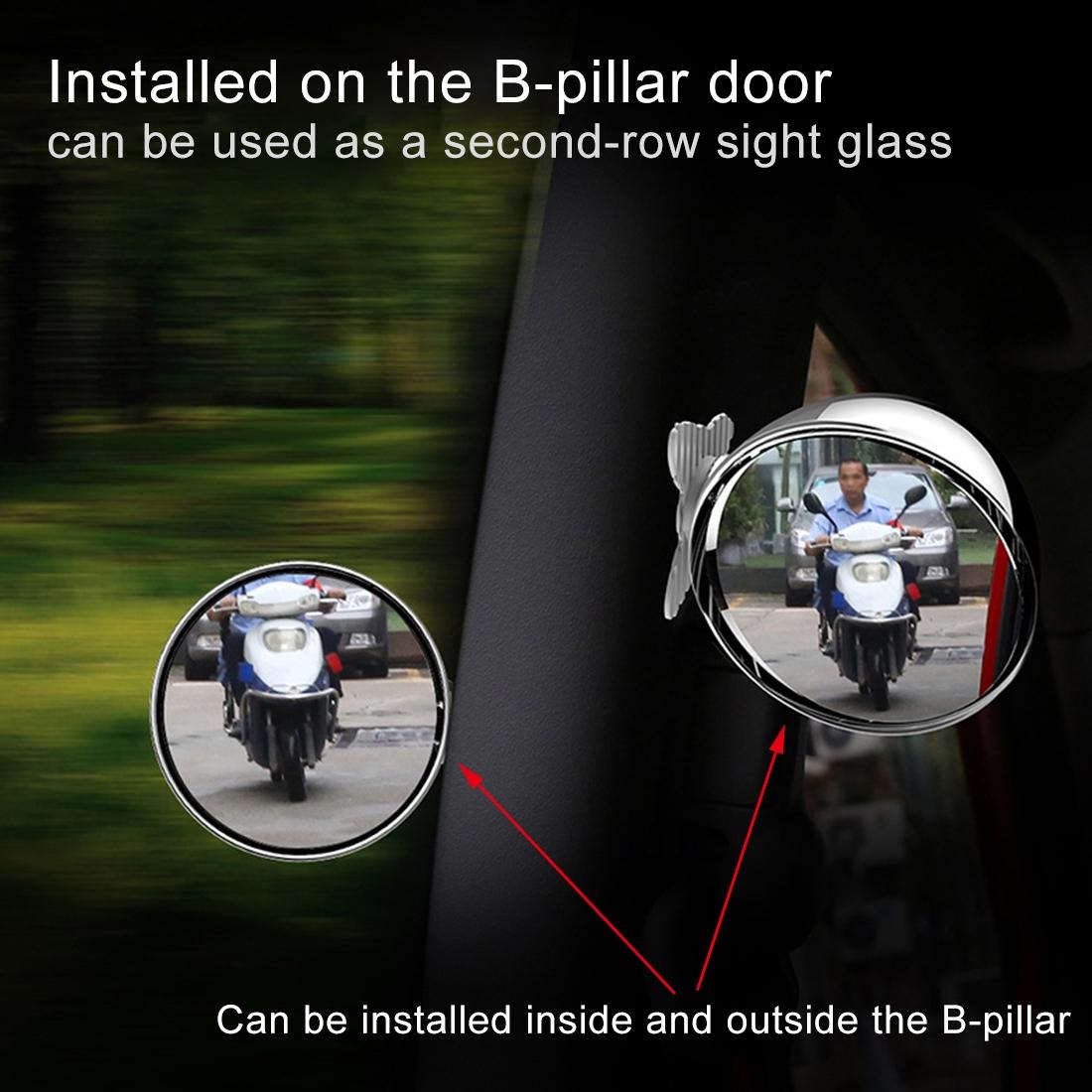 3R-044 Auxiliary Rear View Mirror Car Adjustable Blind Spot Mirror Wide Angle Auxiliary Rear View Side Mirror (Silver)