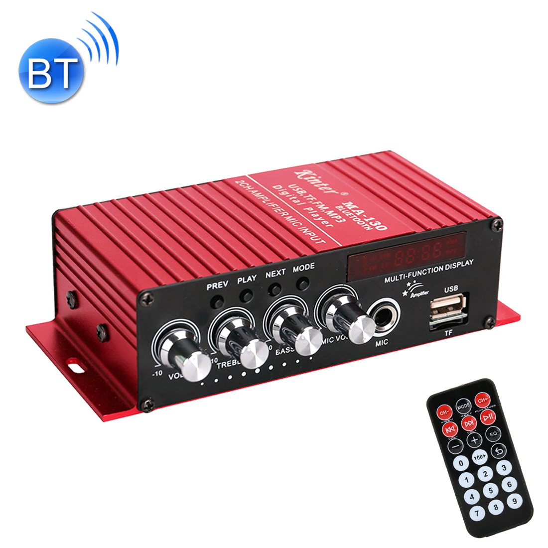 MA-130 2CH Car Amplifier Audio, Support Bluetooth, MP3, USB, FM, TF with Remote Control DC 12V