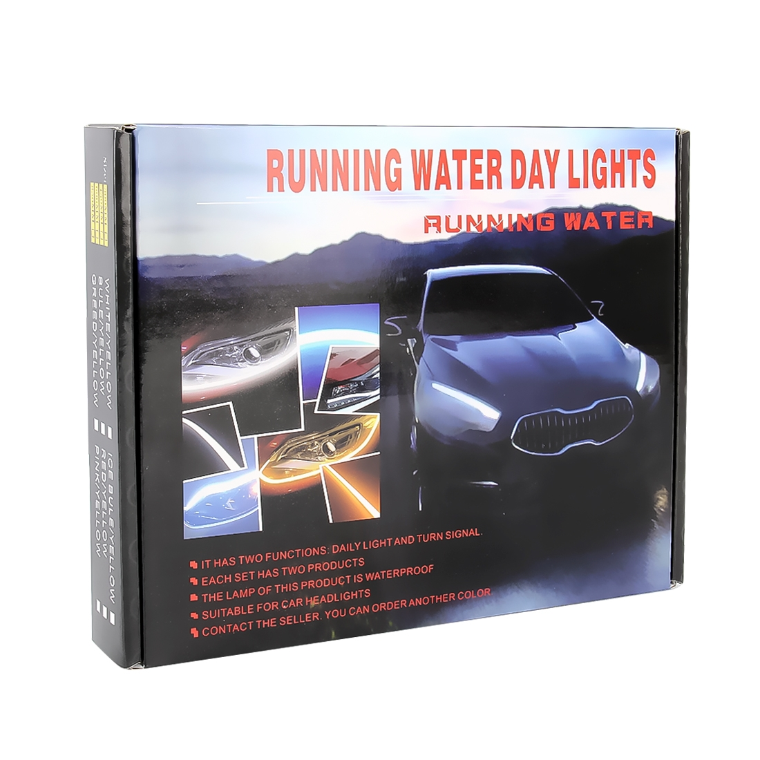 2 PCS DC12V 7.5W Ultra-thin Waterproof Car Auto Double Colors Turn Lights / Running Lights SMD-2835 LED Bulbs (Turn Lights: Yellow Light; Running Lights: White Light)