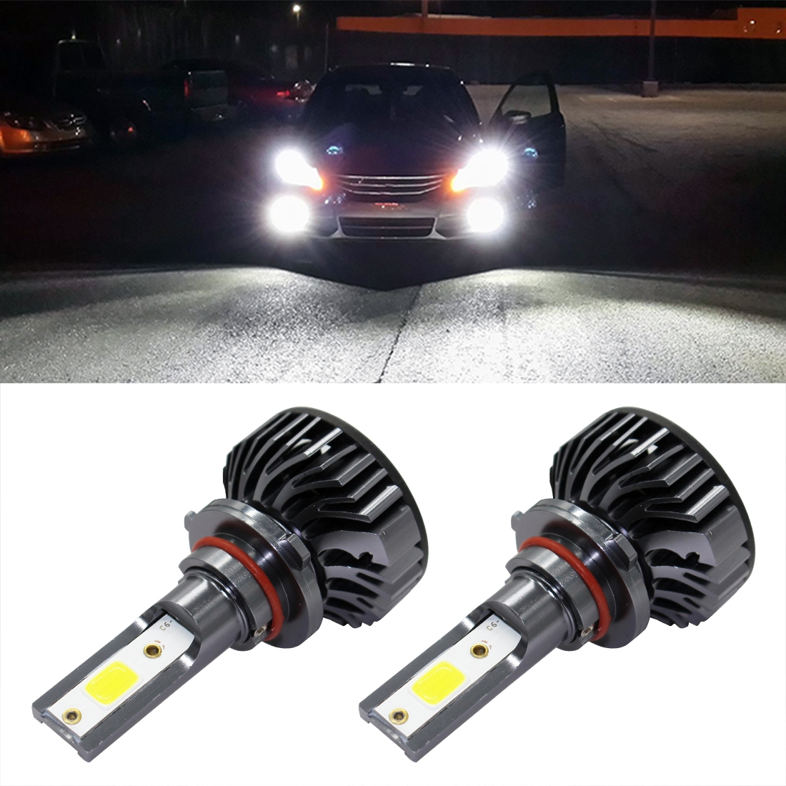 EV8 2 PCS 9005 / HB3 DOB 36W 3000LM 6500K LED Headlight Bulbs High Beam Conversion Kit DC 9-32V (Xenon White)