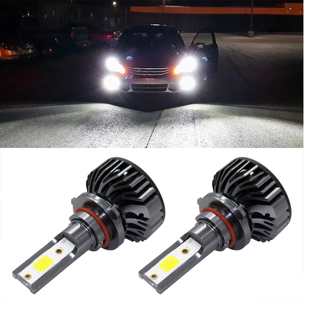EV8 2 PCS 9006 / HB4 36W 3000LM 6500K DOB LED Headlight Bulbs High Beam Conversion Kit DC 9-32V (Xenon White)
