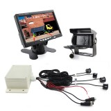 7.0 inch LCD Visible Rear View Mirror Car Recorder for Truck with Parking Rear Camera + 4 Rear Radar + Parking Sensor