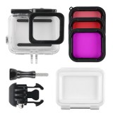 45m Waterproof Housing Protective Case + Touch Screen Back Cover for GoPro NEW HERO /HERO6 /5, with Buckle Basic Mount & Screw & (Purple, Red, Pink) Filters, No Need to Remove Lens (Transparent)