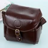Portable Digital Camera Shoulder Bag Soft PU Leather Bag with Strap, Size: 21cm x 15cm x 20cm (Coffee)