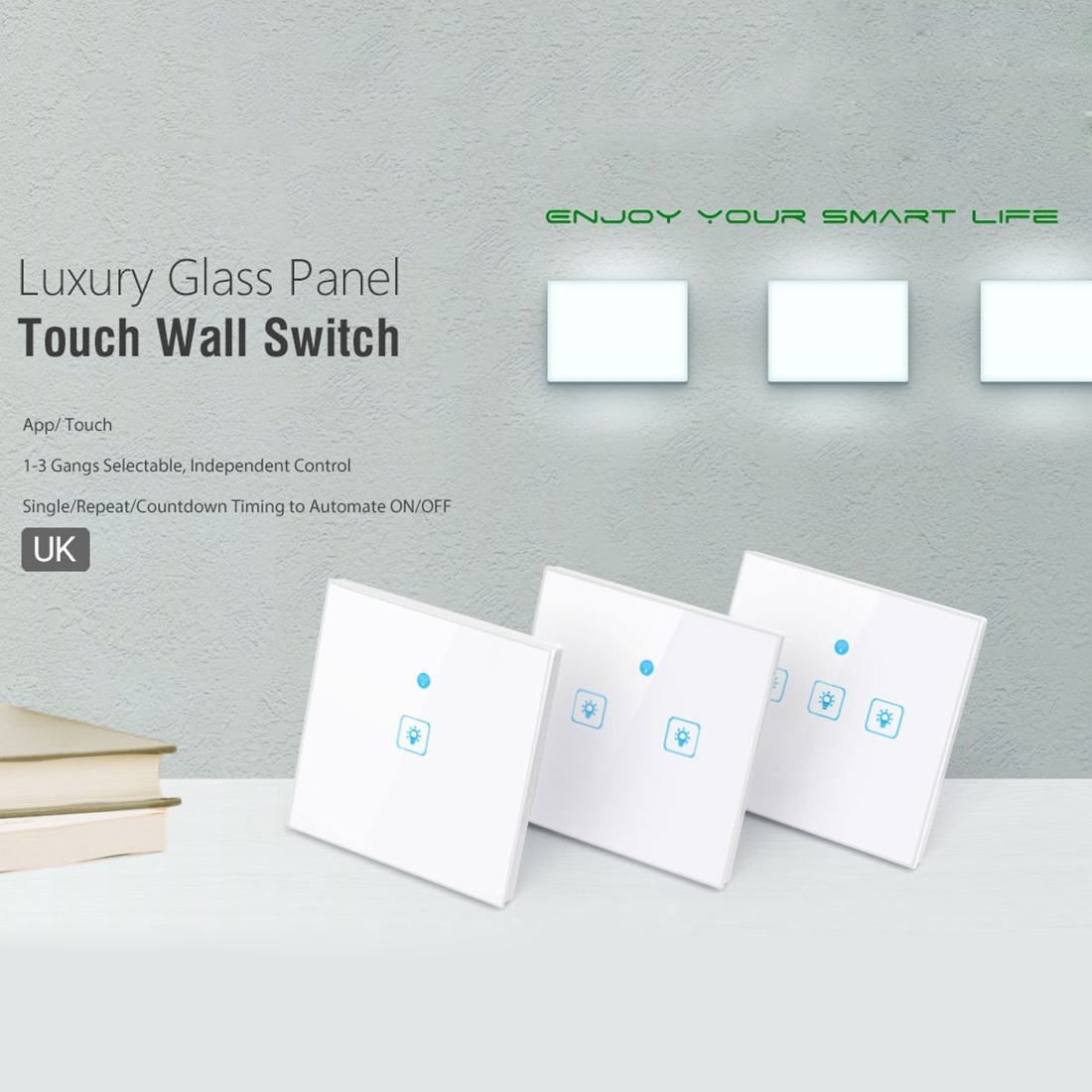WS-UK-02 EWeLink APP & Touch Control 2A 2 Gangs 2 Ways Tempered Glass Panel  Smart Wall Switch, AC 90V-250V, UK Plug