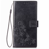 Lucky Clover Pressed Flowers Pattern Leather Case for Huawei Y5 Prime (2018), with Holder & Card Slots & Wallet & Hand Strap (Black)