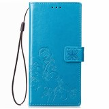 Lucky Clover Pressed Flowers Pattern Leather Case for Huawei Y5 Prime (2018), with Holder & Card Slots & Wallet & Hand Strap (Blue)