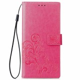 Lucky Clover Pressed Flowers Pattern Leather Case for Huawei Y5 Prime (2018), with Holder & Card Slots & Wallet & Hand Strap (Magenta)