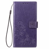 Lucky Clover Pressed Flowers Pattern Leather Case for Huawei Y5 Prime (2018), with Holder & Card Slots & Wallet & Hand Strap (Purple)
