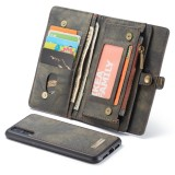 CaseMe-008 Detachable Multifunctional Horizontal Flip Leather Case for Huawei P20, with Card Slot & Holder & Zipper Wallet & Photo Frame (Black)