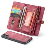CaseMe-008 Detachable Multifunctional Horizontal Flip Leather Case for Huawei P20, with Card Slot & Holder & Zipper Wallet & Photo Frame (Red)