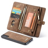 CaseMe-008 Detachable Multifunctional Horizontal Flip Leather Case for Huawei P20 Pro, with Card Slot & Holder & Zipper Wallet & Photo Frame (Coffee)