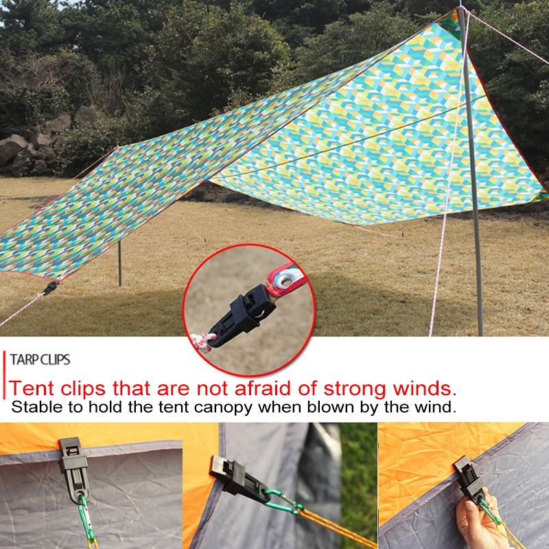 20 PCS Outdoor Tent Awnings Windproof Fixing Clip Multifunctional Wind Rope Buckle (Green)