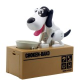 Creative Cartoon Edacious Puppy Automatic Money Eating Coin Saving Box, White Spotted Dog