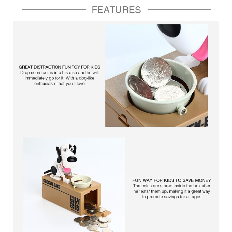 Creative Cartoon Edacious Puppy Automatic Money Eating Coin Saving Box, Brown and White Dog
