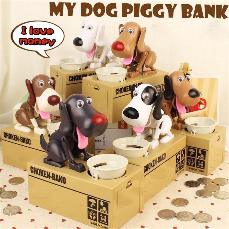 Creative Cartoon Edacious Puppy Automatic Money Eating Coin Saving Box, Gray Dog