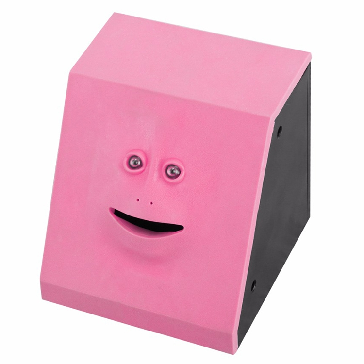 face bank automatic money eating box coin saving box pink. Black Bedroom Furniture Sets. Home Design Ideas