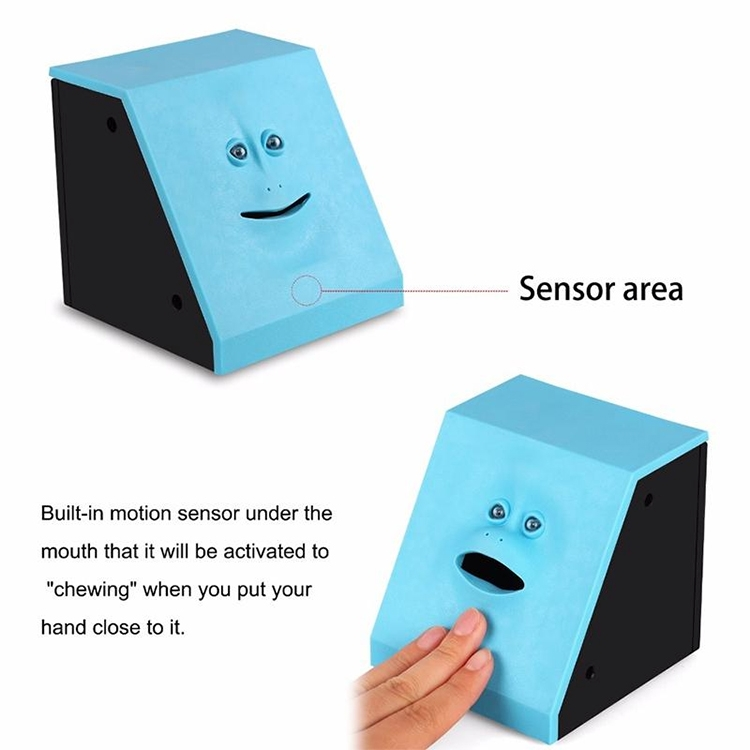 Face Bank Automatic Money Eating Box Coin Saving Box (Blue)