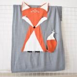Fox Pattern Stereoscopic Ears Baby Knitted Blanket (Grey)