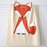 Fox Pattern Stereoscopic Ears Baby Knitted Blanket (Beige)