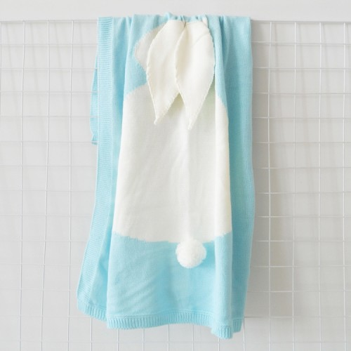 Rabbit Pattern Stereoscopic Ears Baby Knitted Blanket (Baby Blue)