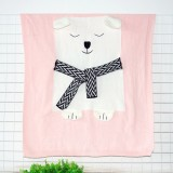 White Bear Pattern Stereoscopic Ears Baby Knitted Blanket (Pink)
