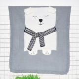 White Bear Pattern Stereoscopic Ears Baby Knitted Blanket (Grey)