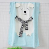 White Bear Pattern Stereoscopic Ears Baby Knitted Blanket (Baby Blue)