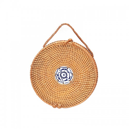 Portable Style Autumn Rattan Handmade Rattan Bag Vintage Art Beach Ladies Diagonal Bag