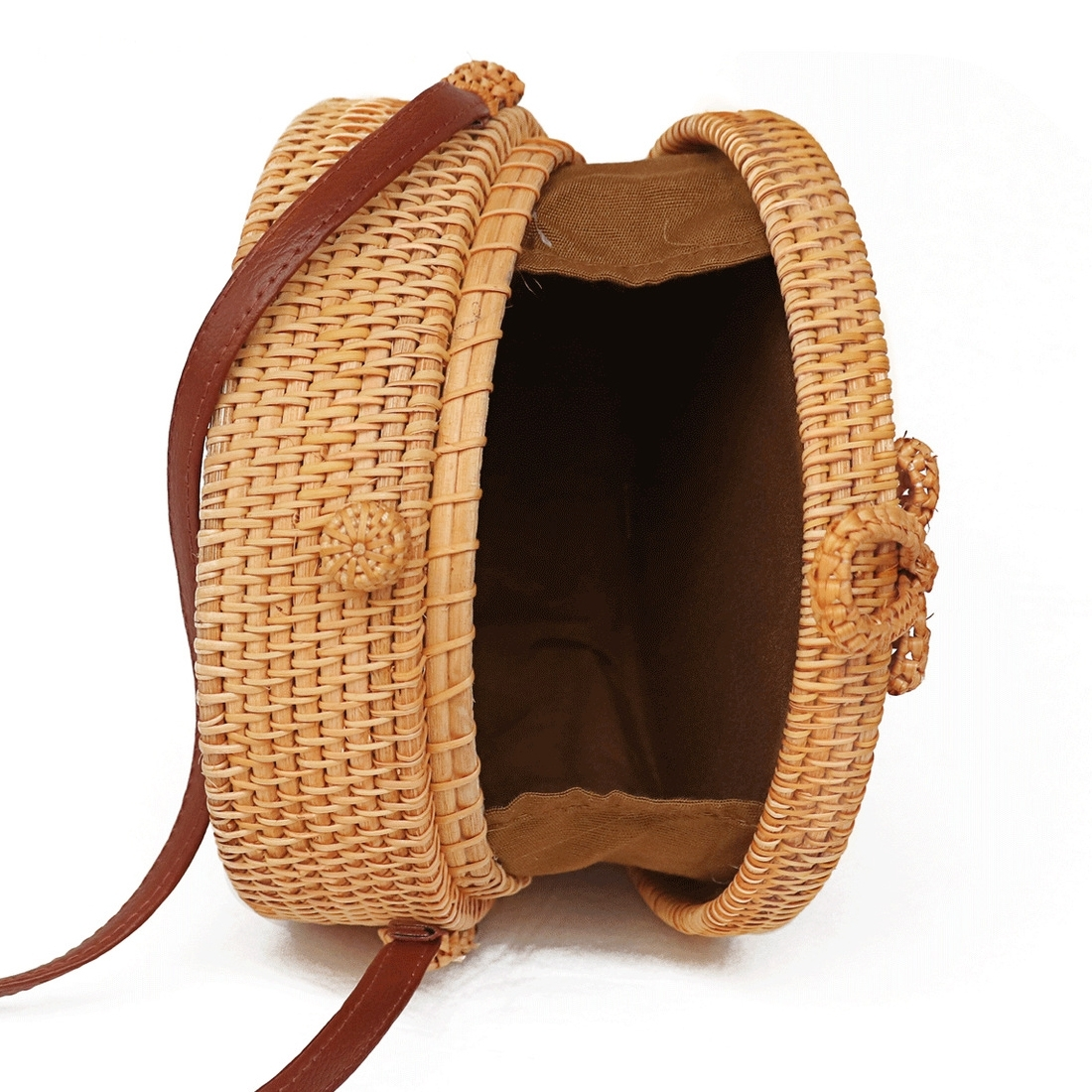 Sunflower Pattern Autumn Rattan Handmade Rattan Bag Vintage Art Beach Ladies Diagonal Bag