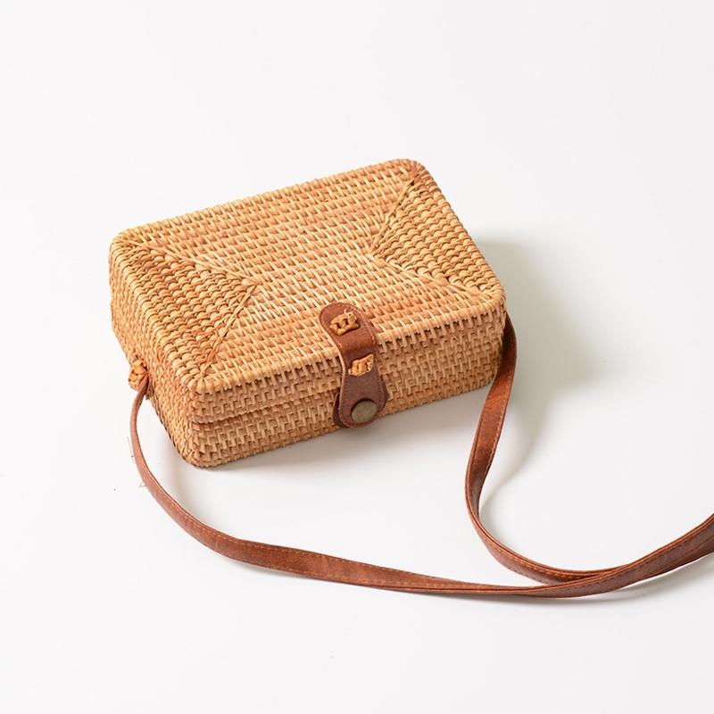 Delicate Square Autumn Rattan Handmade Rattan Bag Vintage Art Beach Ladies Diagonal Bag