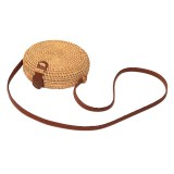 Delicate Round Autumn Rattan Handmade Rattan Bag Vintage Art Beach Ladies Diagonal Bag