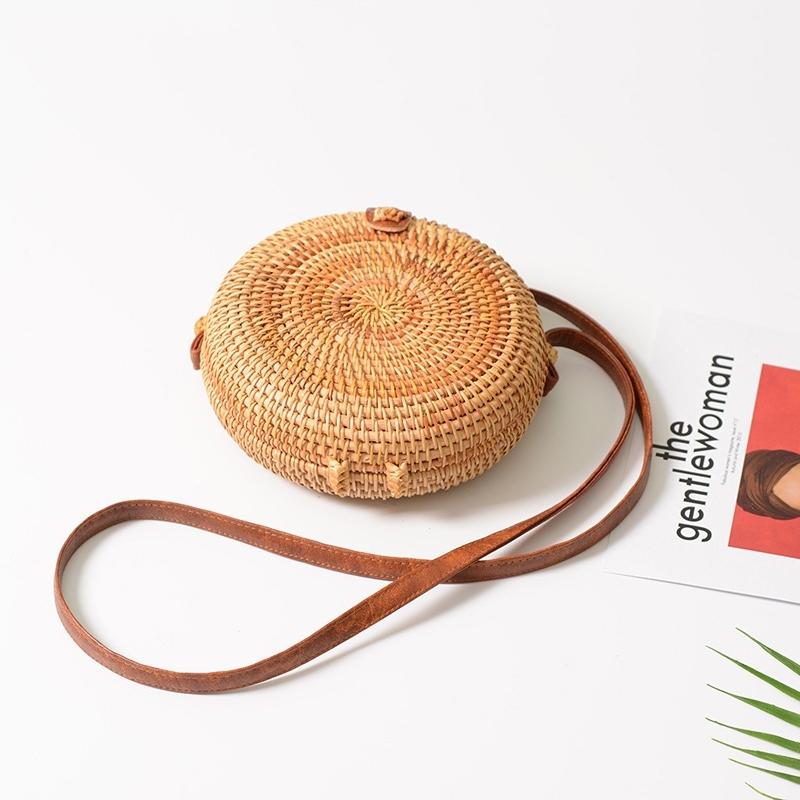 Delicate Round Autumn Rattan Handmade Rattan Bag Vintage Art Beach Ladies Diagonal Bag