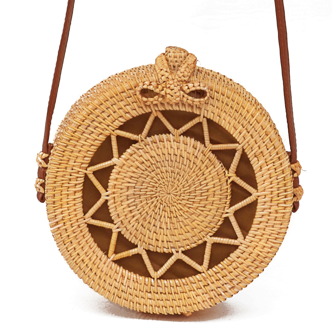 Flower Pattern Autumn Rattan Handmade Rattan Bag Vintage Art Beach Ladies Diagonal Bag