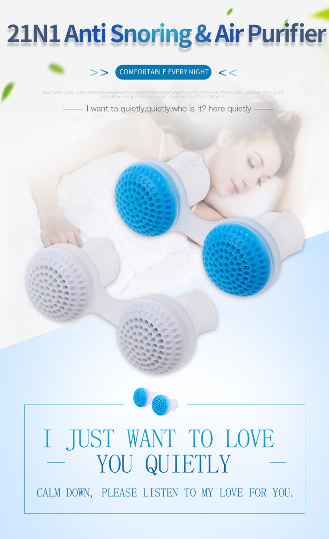 2 PCS 2 in 1 ABS Silicone Anti Snoring Air Purifier (Blue)
