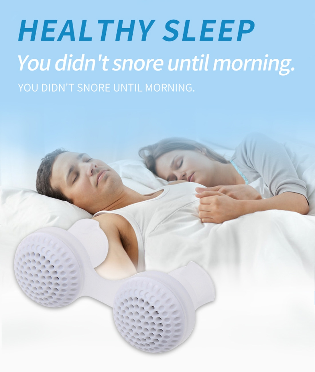 2 PCS 2 in 1 ABS Silicone Anti Snoring Air Purifier (White)
