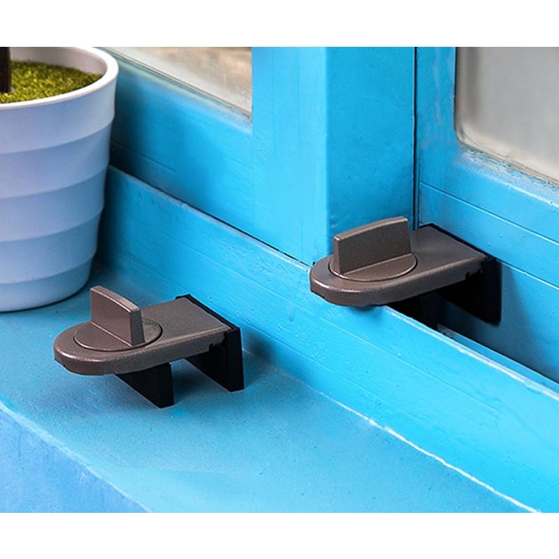 2 PCS Sliding Sash Stopper Cabinet Locks & Straps Doors Security Anti-theft Lock Window Door Baby Safety Lock