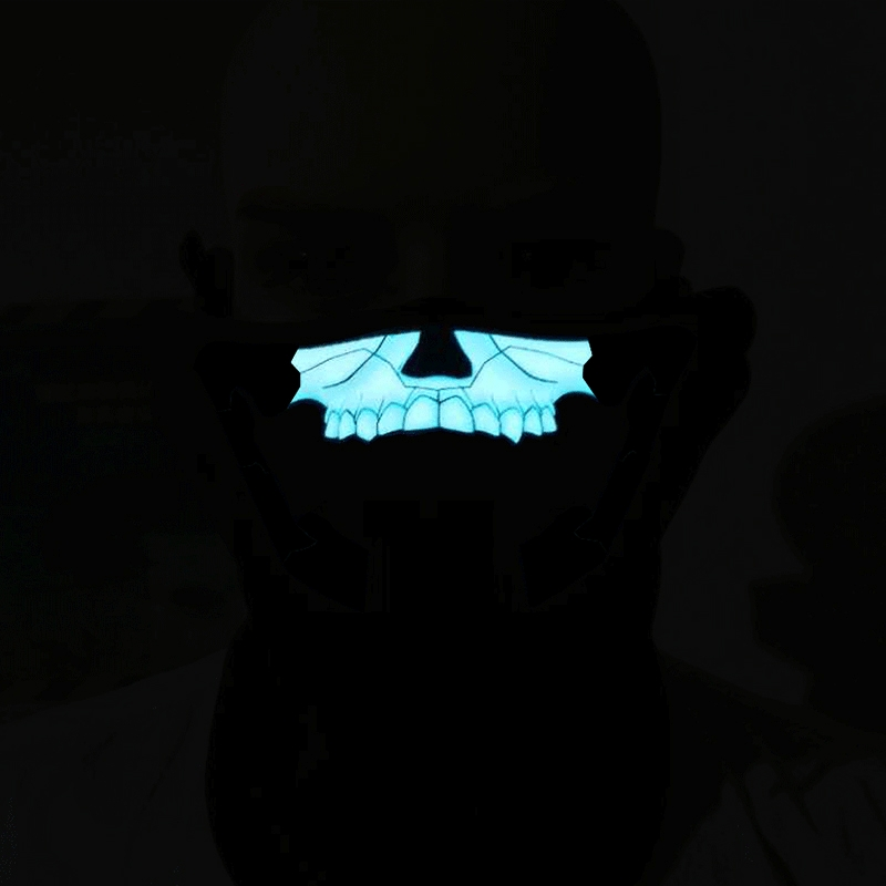 FG-MA-018 Halloween Mask Voice Control LED Cold Light Terror Cosplay Mask