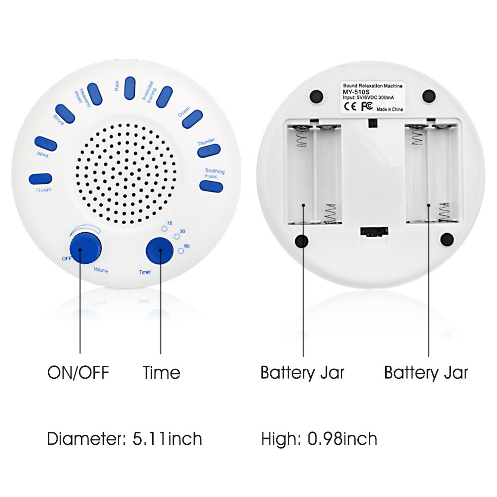 Imitation of Natural Sound High Sound Quality Timing Music Sleep Aid Device  White Noise Machine Music Player (White)
