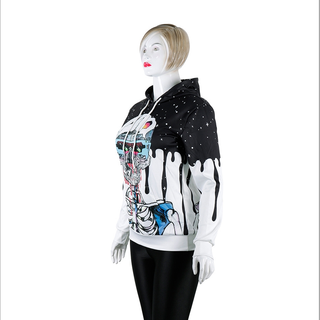 Halloween Trend Explosions Skull 3D Digital Print Unisex Coat Sweater with Hat Size: XL
