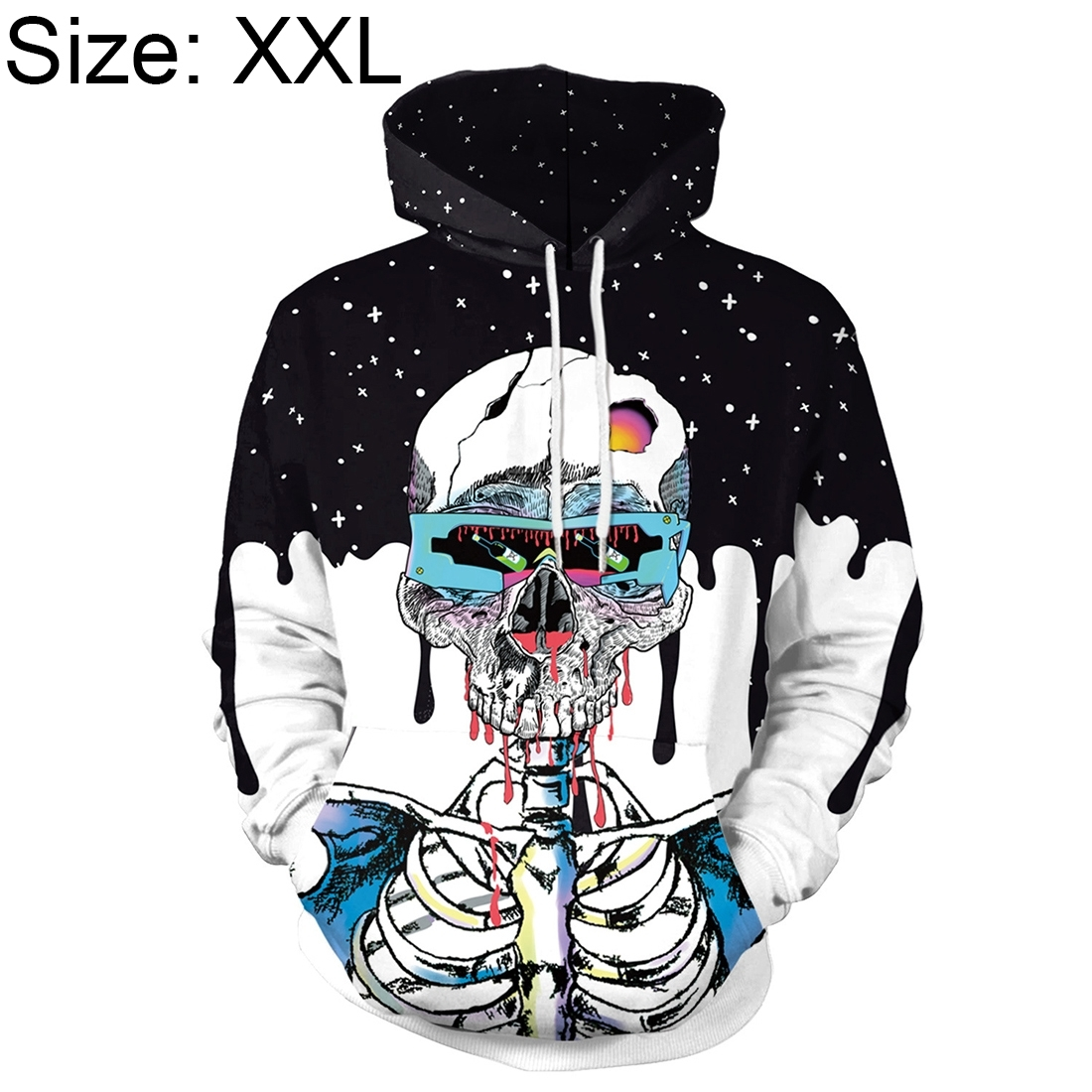 Halloween Trend Explosions Skull 3D Digital Print Unisex Coat Sweater with Hat Size: XXL