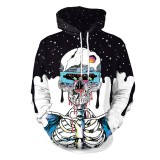 Halloween Trend Explosions Skull 3D Digital Print Unisex Coat Sweater with Hat Size: M